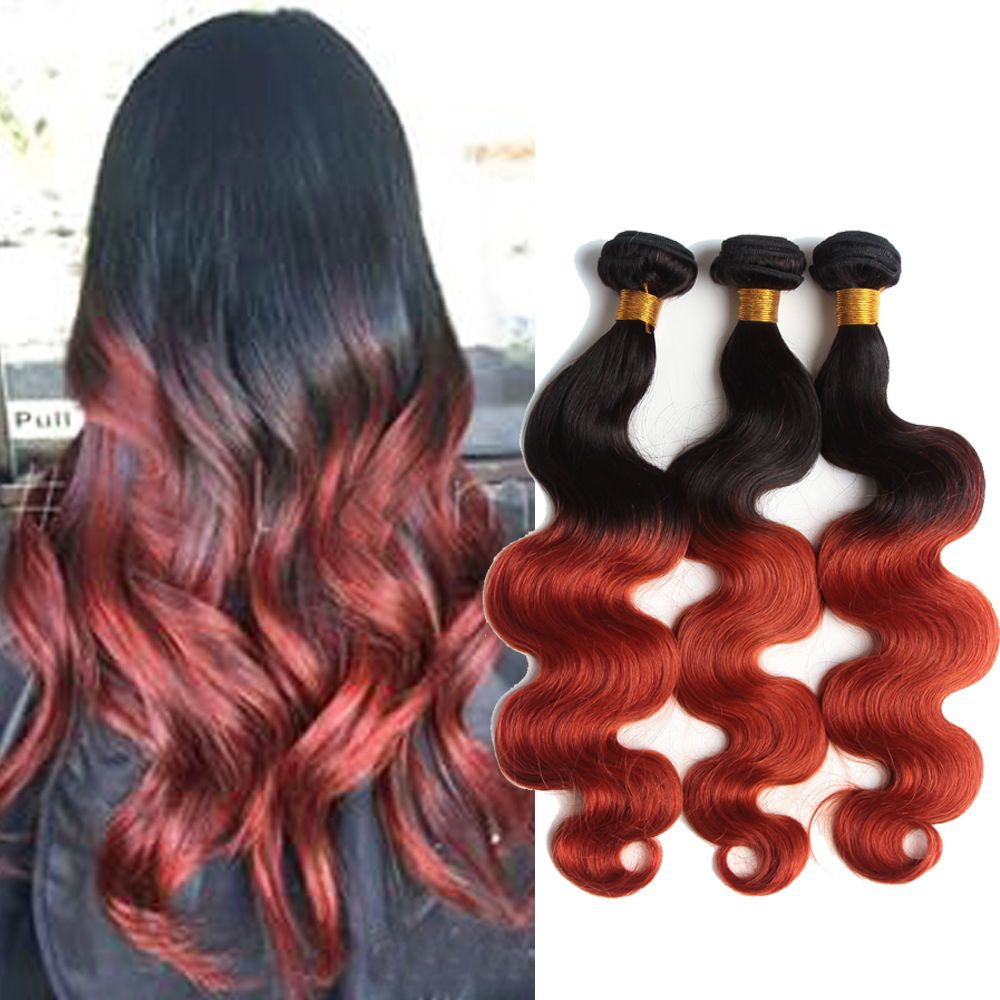 1b/350# Body Wave Human Hair Extensions Ombre Hair 50g/pc Grade 7A Hair Waeving #WIGISS #HairExtension