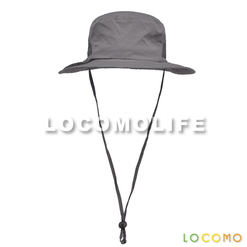d7d7daee18620 Plain Color Mesh Hiking Sun Bucket Hat Brim Neck Strap Dark Gray ...