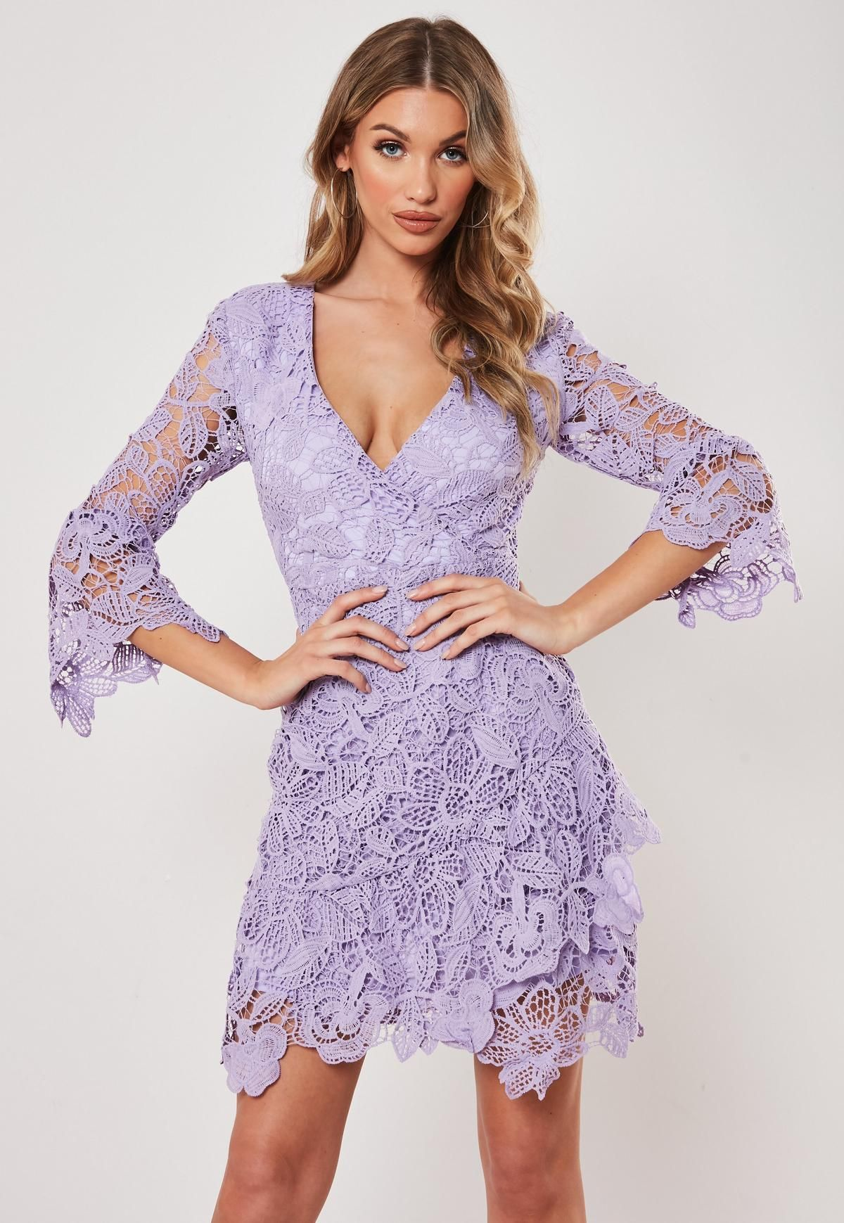 Lilac Lace Wrap Front Mini Dress Missguided Mini Dress Cocktail Dress Lace Dresses [ 1739 x 1200 Pixel ]