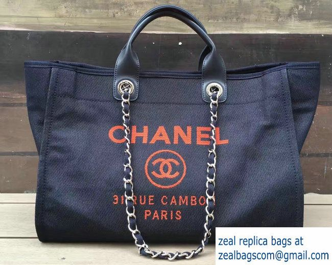 21d71cac5467 Chanel Denim/Calfskin Deauville Tote Medium Shopping Bag Dark Blue/Orange  2017