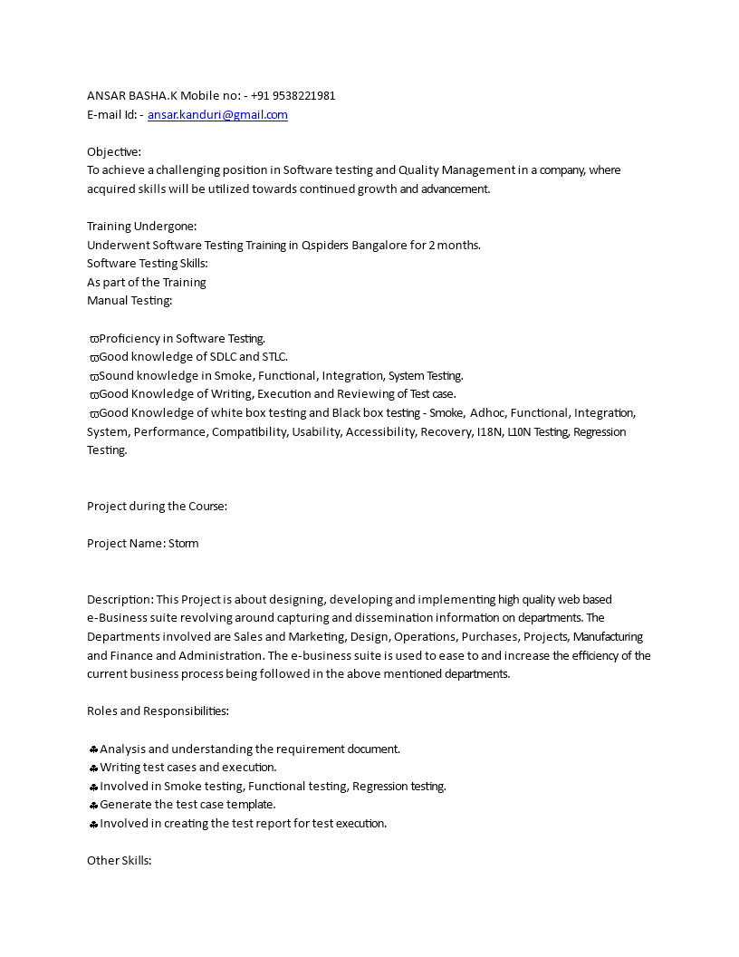 Software Manual Testing Resume For Fresher How to make a