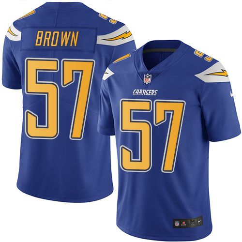 Youth Nike Los Angeles Chargers #57 Jatavis Brown Limited Electric Blue Rush NFL Jersey