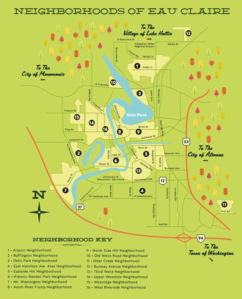 Eau Claire Neighborhoods Map Eau Claire WI Pinterest