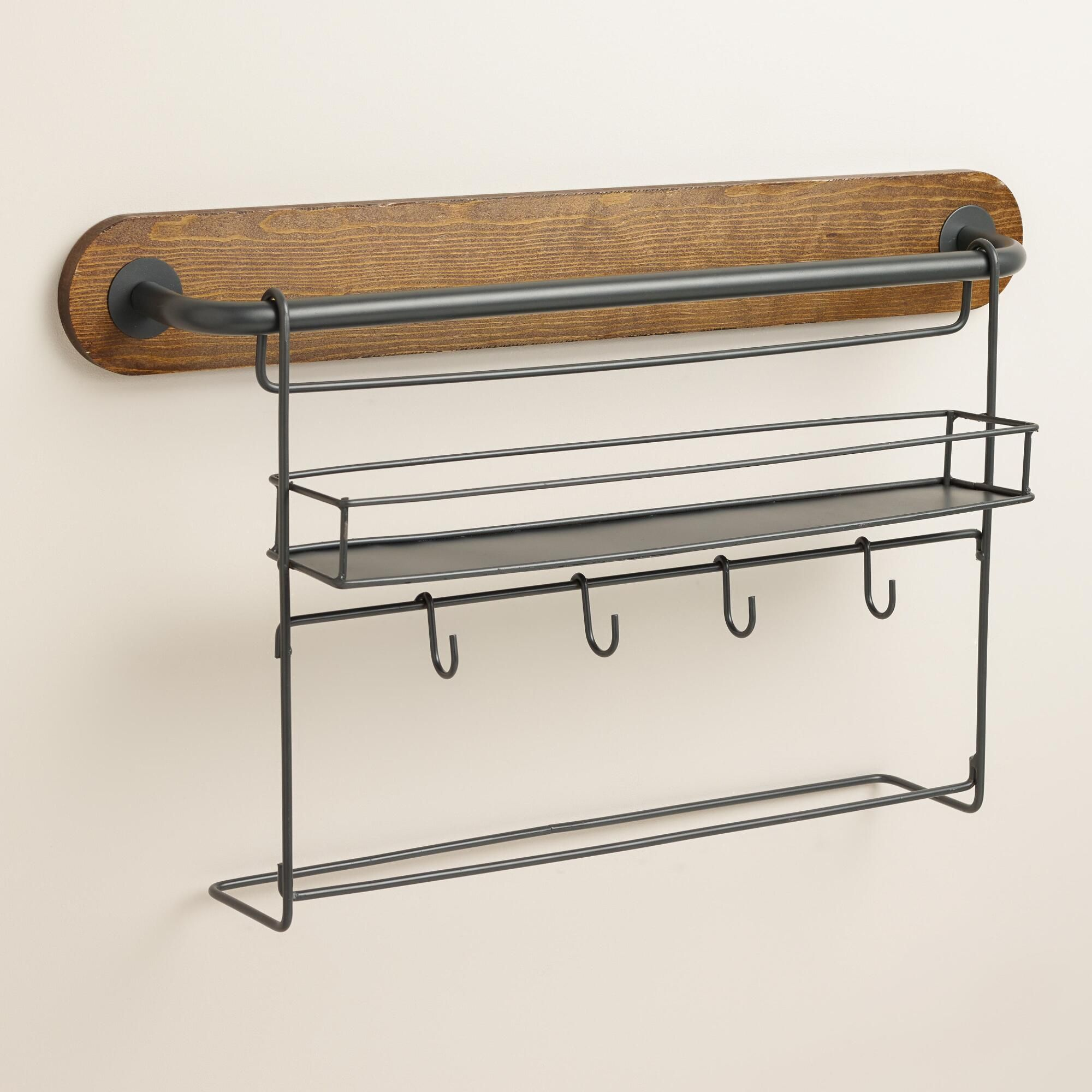 Wall Storage E Rack With Cup Hooks