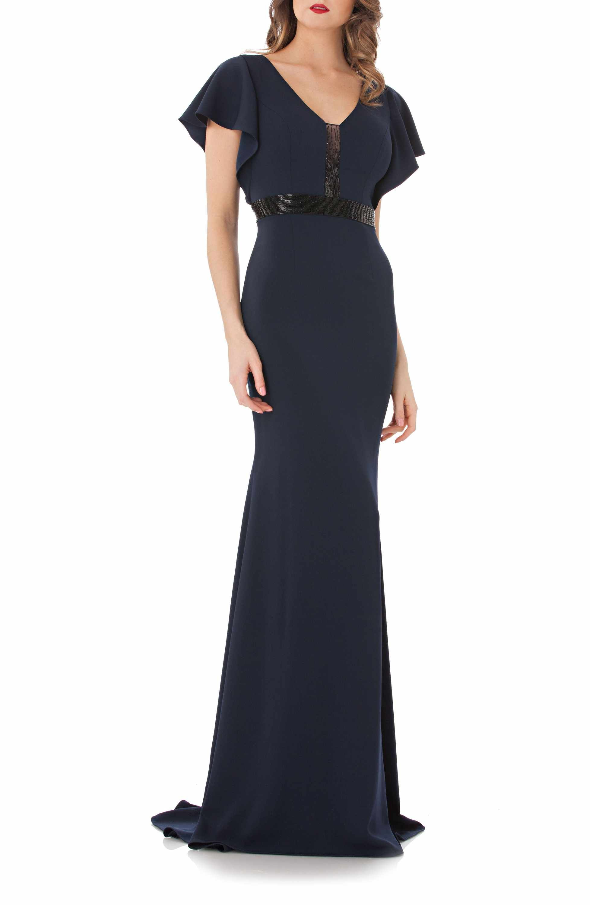 8b9ab5e35bfb70 Main Image - Carmen Marc Valvo Infusion Beaded Flutter Sleeve Gown ...