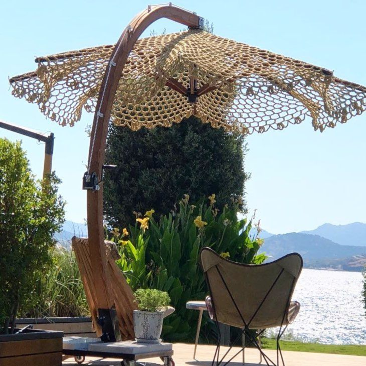 Photo of visual result about macrame sunbed umbrella
