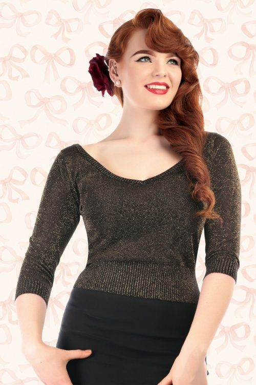4f95e96b3aa 50s Bardot Lurex Jumper in Black and Gold | Vintage glamour time ...