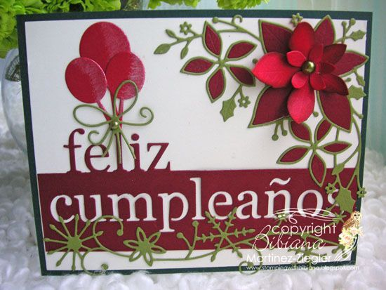 Memory Box DT member Bibiana showcased this card using July 2014 release dies, on the Spanish MB blog she hosts. Although it has a birthday sentiment the other dies used along with her chosen colours suggests it could be used as a Christmas design.