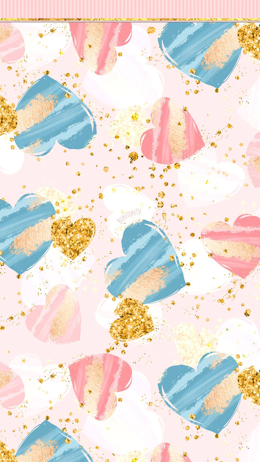 Phone Wallpapers Hd Cute Girly Pink Blue And Gold Hearts By Bonton Tv Free Backgrounds 1 Gold Wallpaper Iphone Blue Wallpaper Phone Wallpaper Pink And Blue