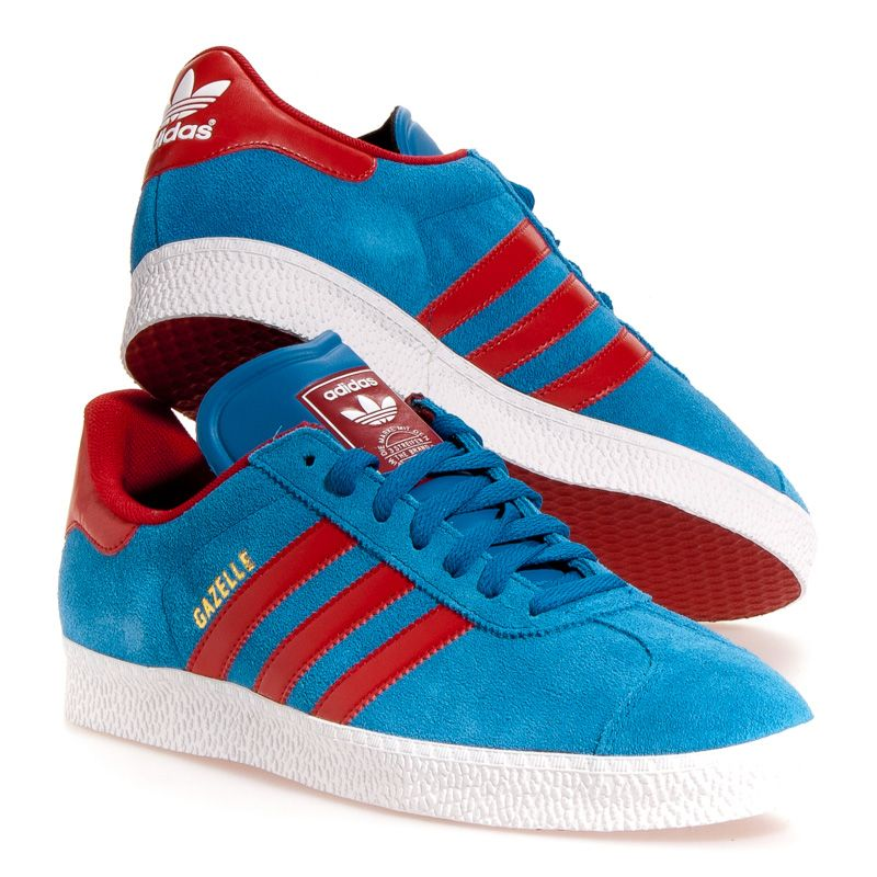 Adidas Gazelle 2 Men\u0027s Athletic Shoes: Blue/Red 13