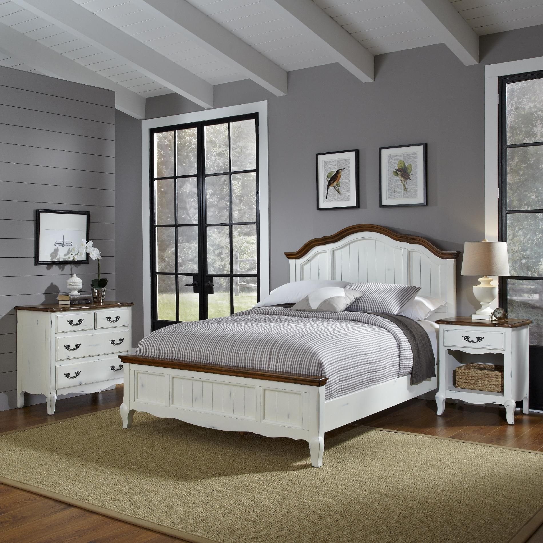 home styles oak and rubbed white french countryside queen bed night