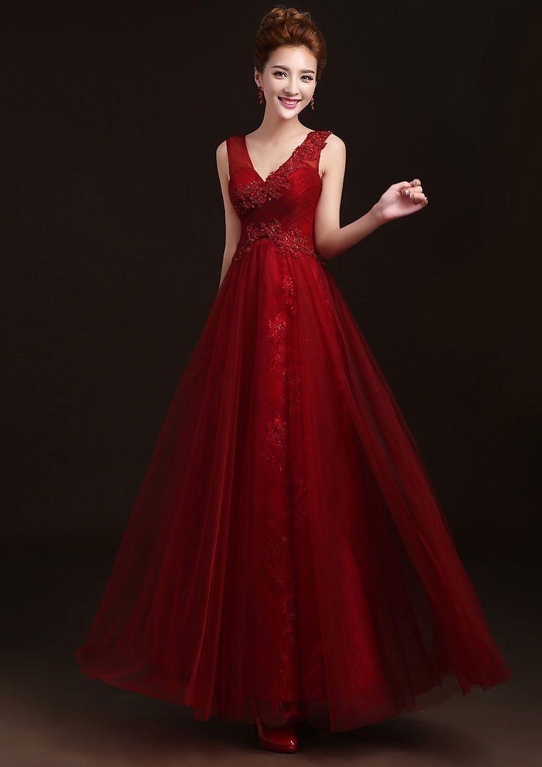 303926cdd734c Burgundy Marsala red long beaded bridesmaid dress bridal gown ...
