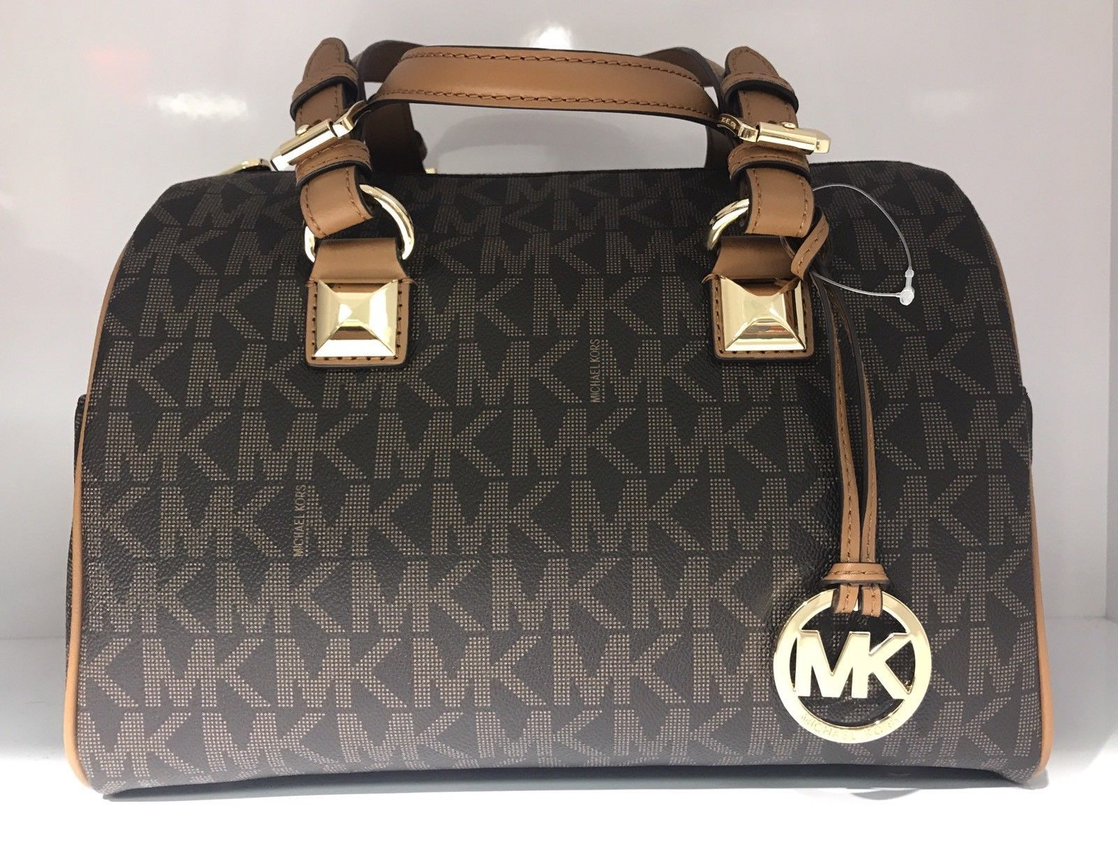 0f814a9365e3 MICHAEL Michael Kors Medium Grayson Brown MK LOGO Satchel Bag  179.98