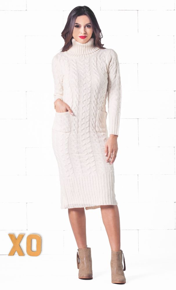 Indie XO Snow Bunny Beige Long Sleeve Turtleneck Cable Knit Two Pocket Midi  Sweater Dress - Just Ours! e40111a41