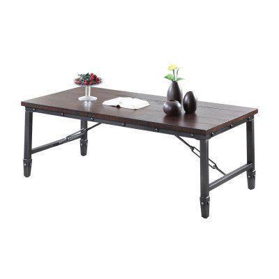 Best Master Furniture Dark Walnut With Black Iron Coffee Table 3 Piece Set Iron Coffee Table