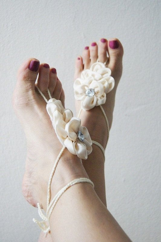 95dc183bfd8b34 ivory Bridal Bridesmaids flower Beach wedding barefoot sandals