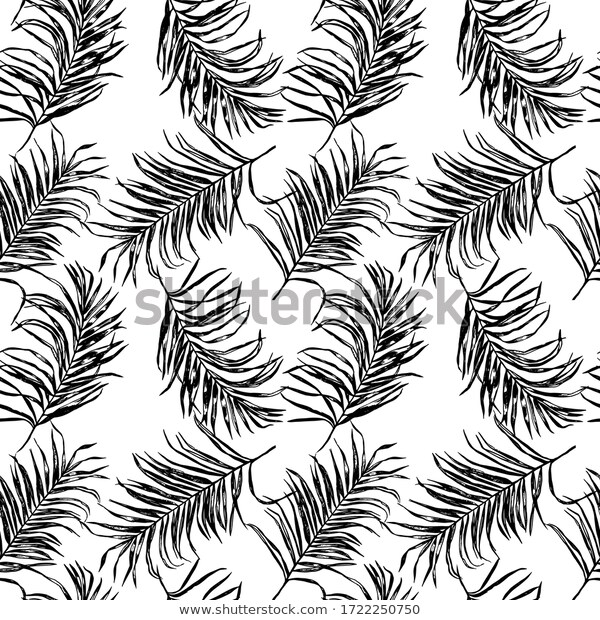 Black White Tropical Palm Tree Leaves Stock Vector Royalty Free 1722250750 In 2020 Palm Tree Leaves Palm Trees Black And White