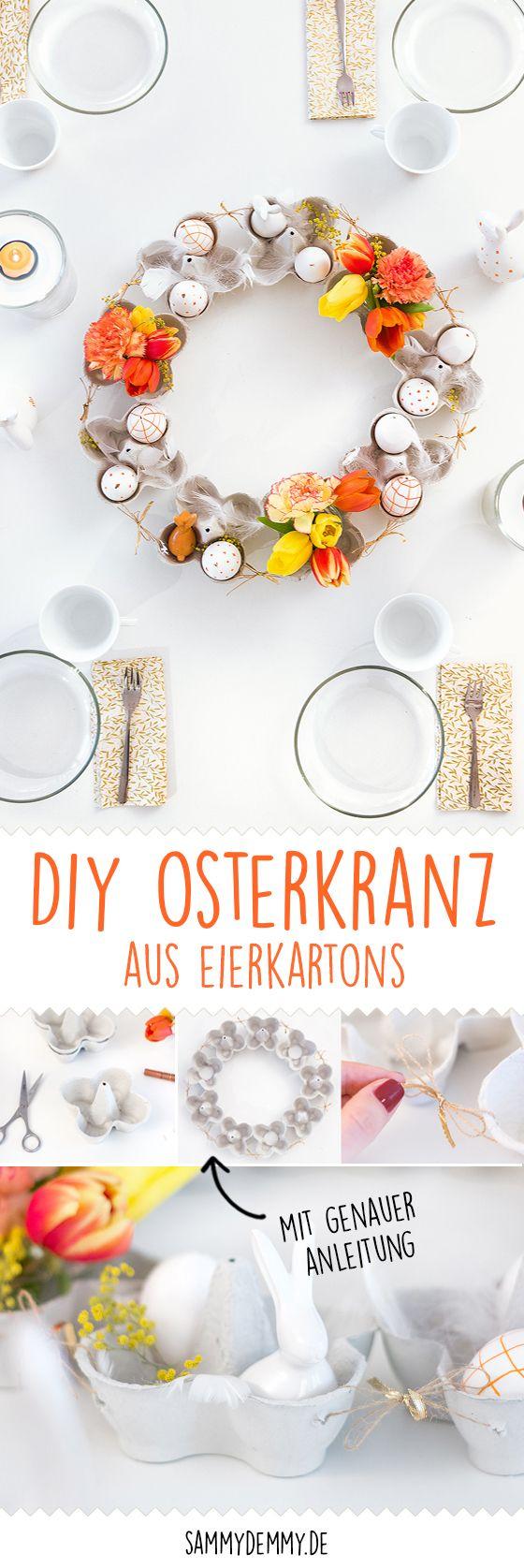 DIY Osterkranz und blumige Tischdeko für Ostern