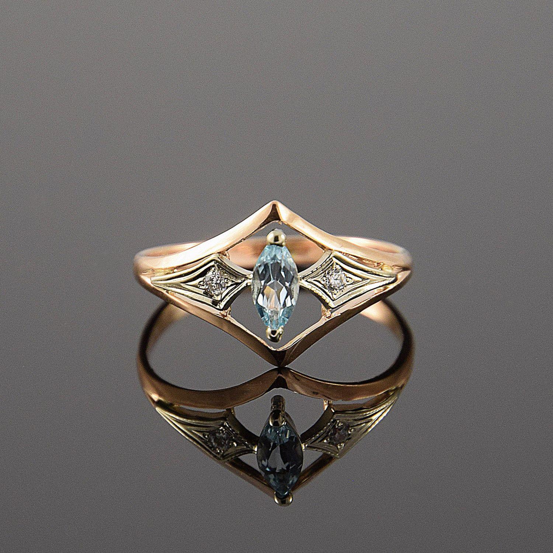 Art deco ring Topaz ring Geometric ring Promise by JewelryAsteria