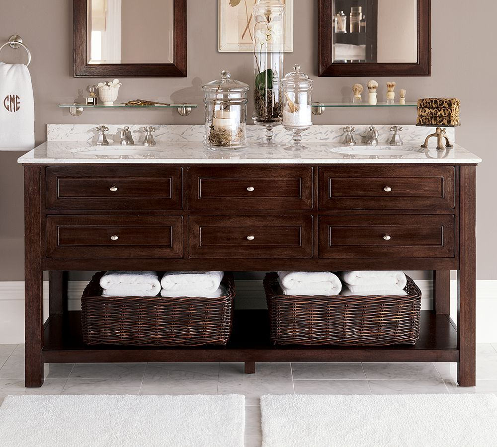 Stylish Double Sink Vanity With Black Wooden Base Open ...