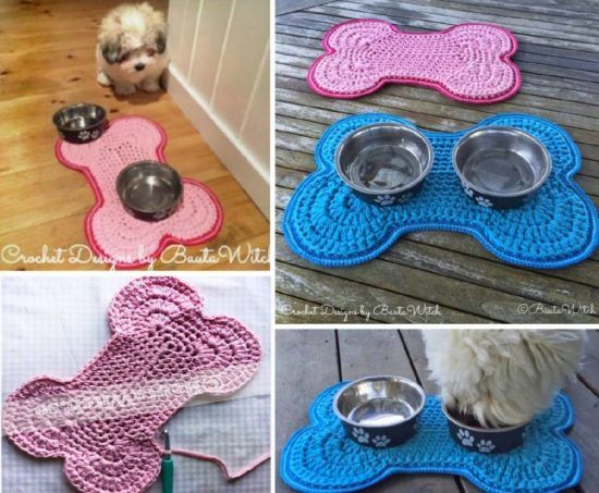 Crochet Dog Bowl Mat Pattern Free Tutorial Dog Bowl Mat Crochet Dog Clothes Dog Bowls