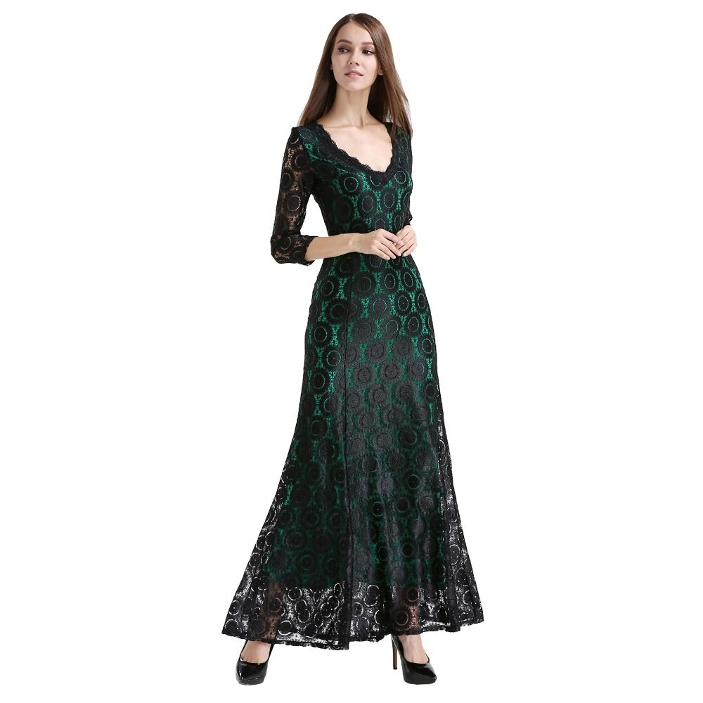 Women Lace Long Dress Summer Casual Robe Sexy 2016 UK Green Elegant ...