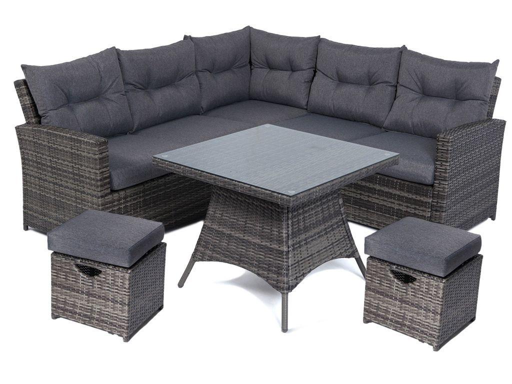 Mayfair 5 7 Seater Rattan Lounge High Back Corner Sofa Set With Footstalls Grey Corner Sofa Set Sofa Set Corner Sofa