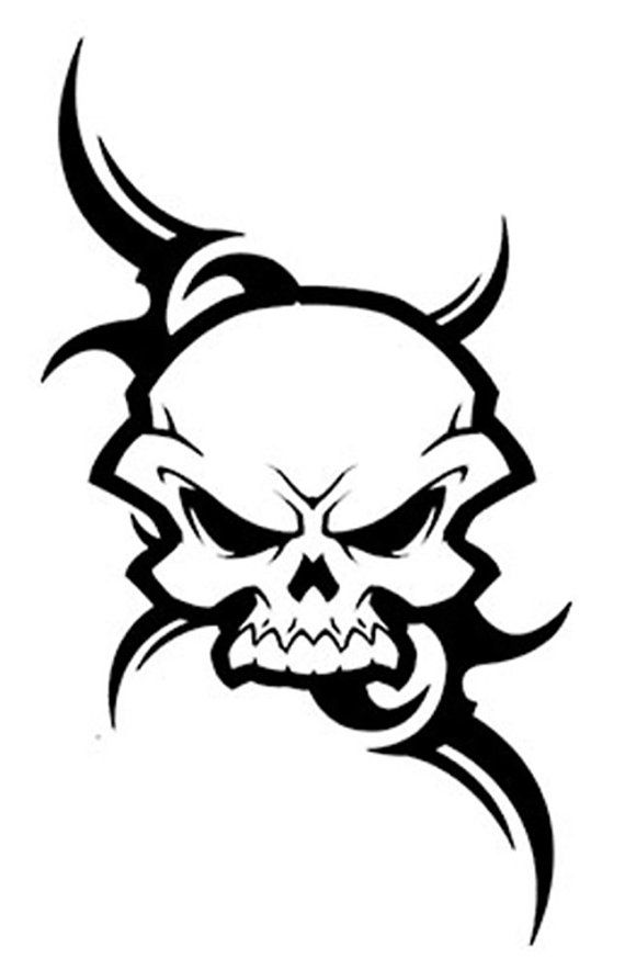 Special Buy 1 Get 1 Free Tribal Skull Temporary Tattoo Eg534 Tribal Skull Skull Tattoo Design Skulls Drawing
