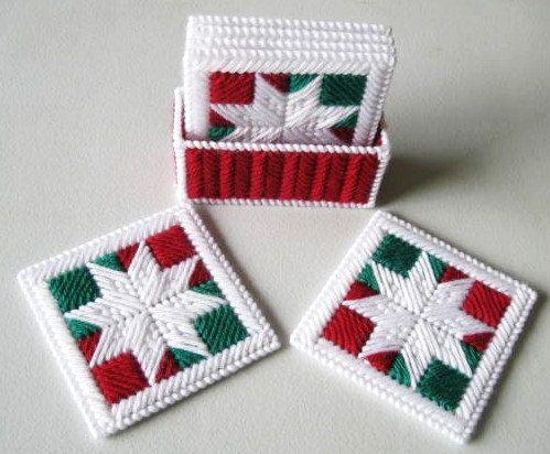 Plastic Canvas Christmas Coaster Patterns.Coasters Snowflakes Patchwork Coasters Plastic Canvas