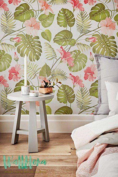 Tropical Patrón - Papel pintado hibisco extraíble - Papel pintado