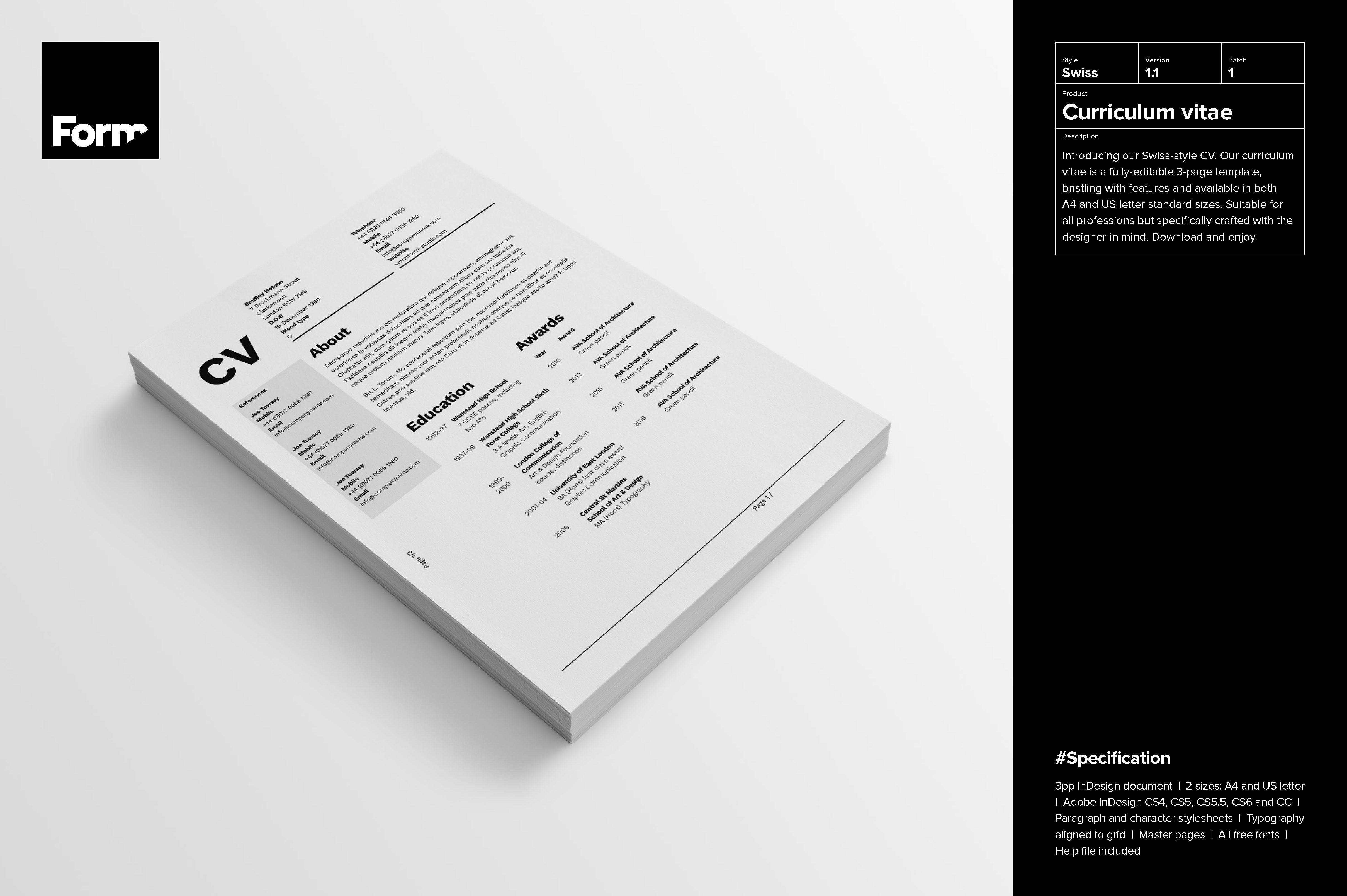 Curriculum Vitae Letterhead Curriculum Vitae Strong Typography