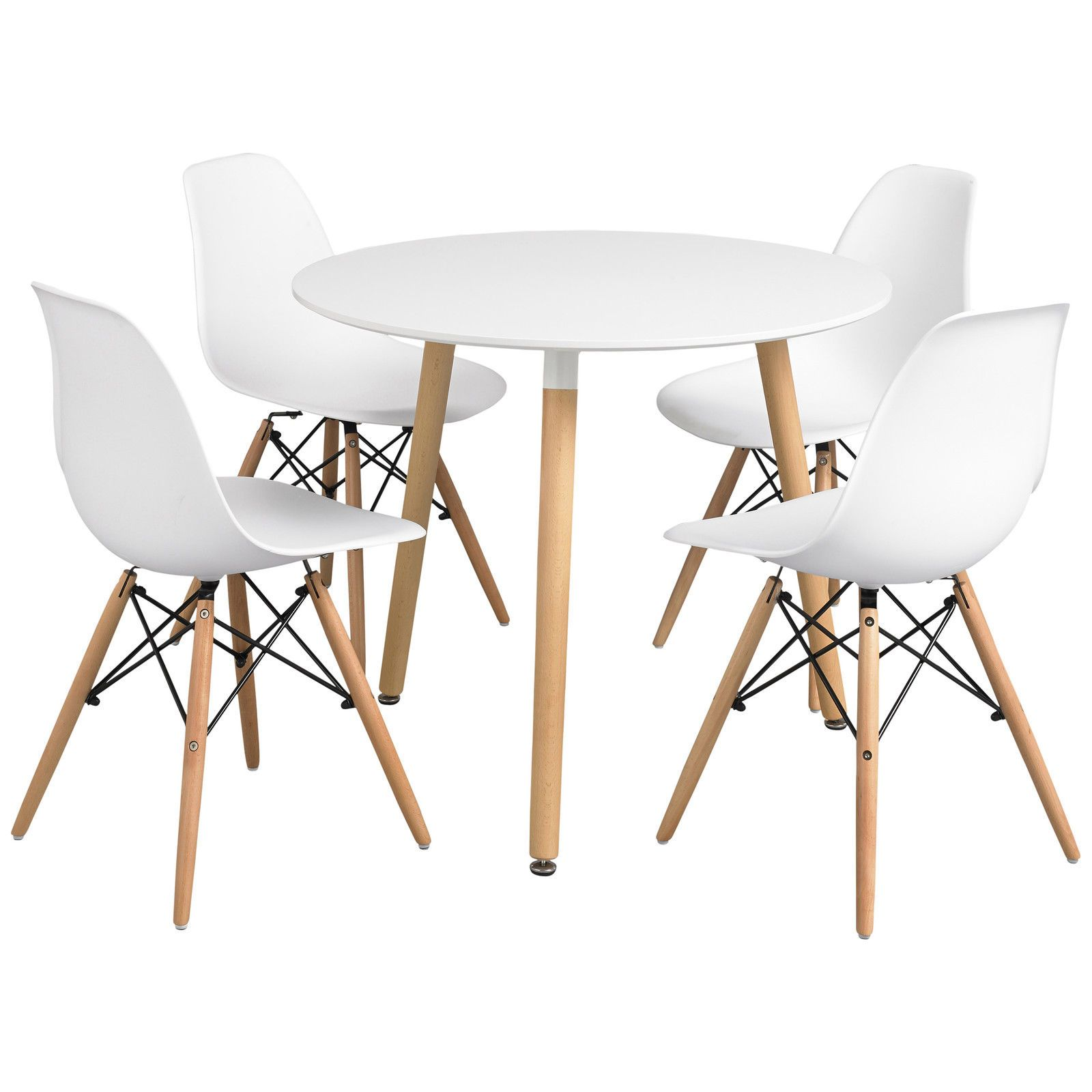 Dining Table and Chair Set with 4 Eiffel Seats | Black White Yellow ...