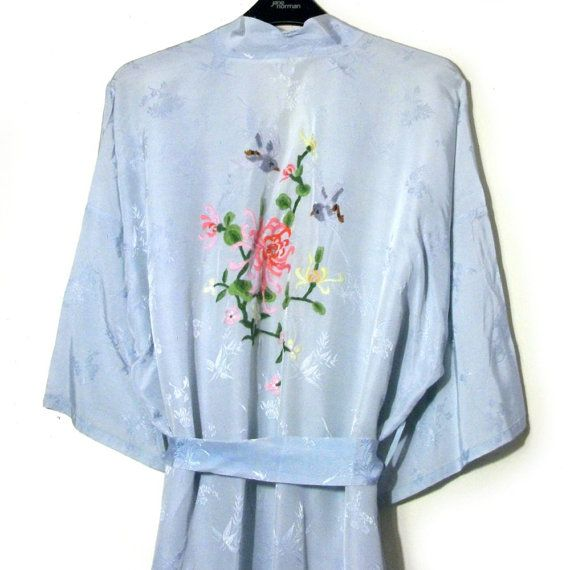 Vintage Pastel Blue Kimono Embroidered Birds Flowers Oriental Embroidery Japanese Chinese Robe Gown Full Length