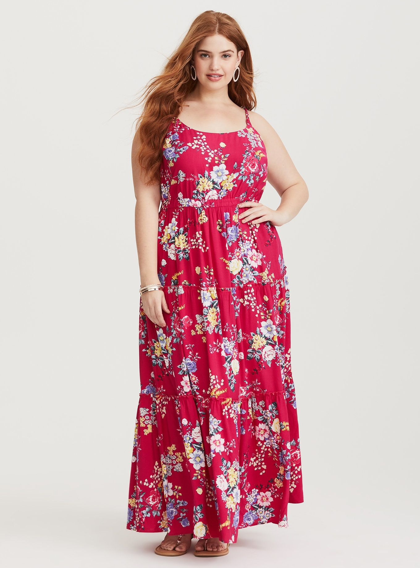 Raspberry floral challis maxi dress short inseam now available