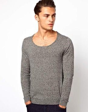 1c14644632fda3 ASOS Scoop Neck Jumper In Cotton | Mens Knitwear | Men sweater, Mens ...