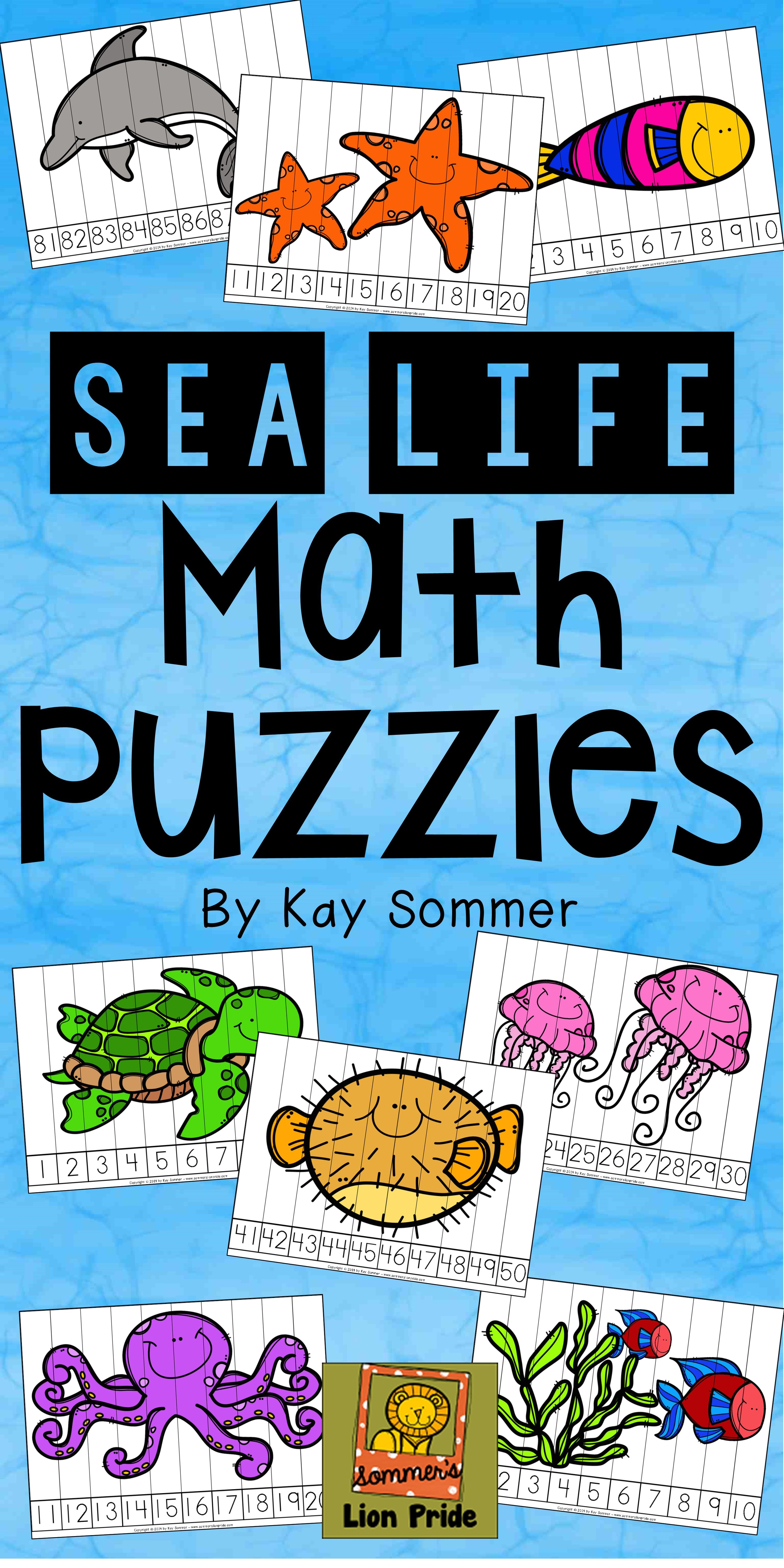 Number Counting Puzzles Sea Life Ocean Great For Math
