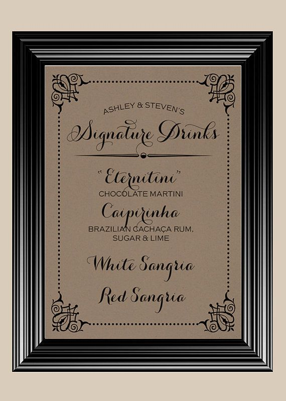 Signature Wedding Drink Names 8x10 Drinks Bar Vintage Rustic Sign On Wanelo