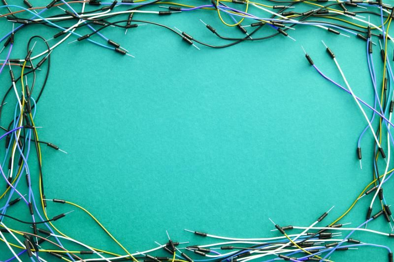 a border frame with coloured electronic wires - free stock photo ...