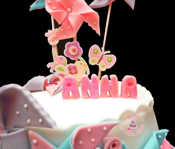 Anna Gateau Rose Bleu Blanc Decoration Anniversaire Birthday