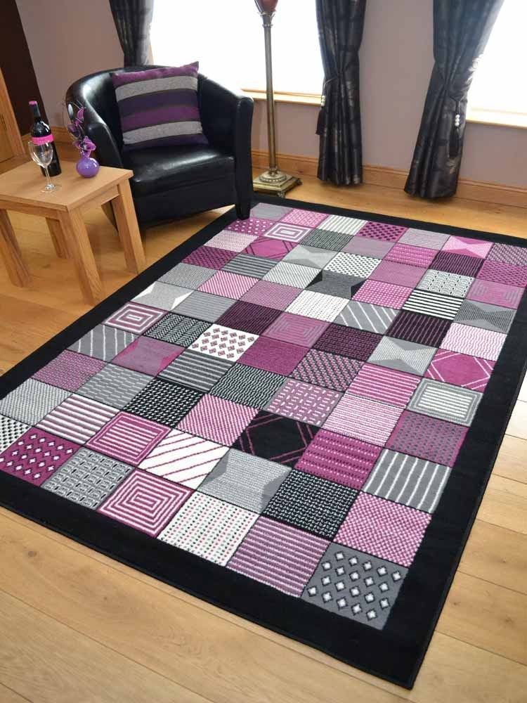 Black Grey And Plum Purple Pink Hall Runners Small Large Long Carpets Rugs Mats