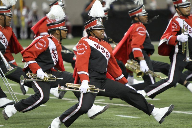 The Winston Salem State University Red Sea Of Sound Marching Band Breaks Down An Intricate Da Marching Band Social Media Contests Historically Black Colleges