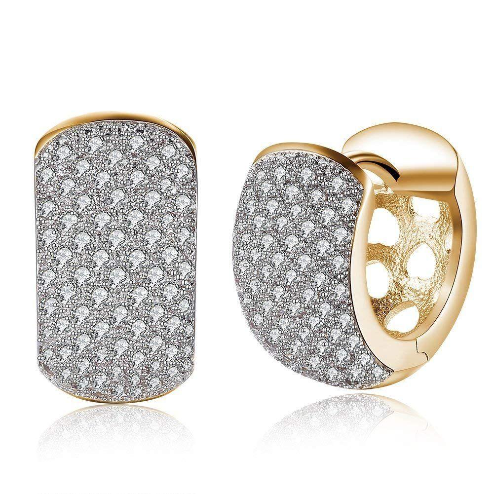 Inside-Out Cubic Zirconia CZ Ladies Hoop Earrings in Women Girls Teens 14k White Gold Over
