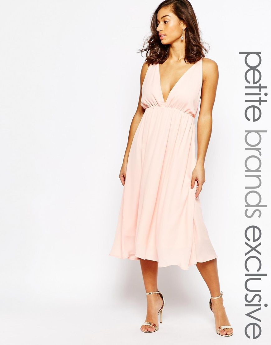 True Decadence Petite Cami Plunge Front And Back Midi Skater Dress ...