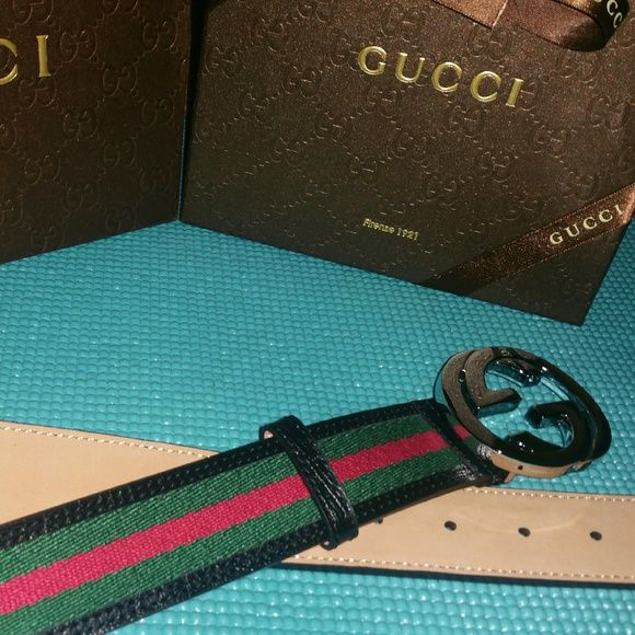 d3172a2d352 Gucci Green red Stripe Belt w Silver Buckle 90cm Authentic Gucci Green red  belt 90cm will fit 30 32 comes with original box Gucci Accessories Belts