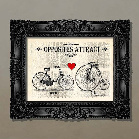 "(take out the ""his/hers"") Dictionary Print - (Opposites Attract) Bicycle lover,  Whimsical Bicycle print, Prints for Lovers, Boyfriend gift, Girlfriend gift"