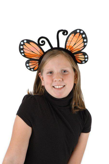 2 pc Child Orange /& Black Butterfly Wings Antenna HeadBand Costume Monarch Moth