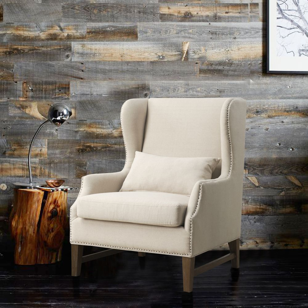 Devon Linen Wing Chair   Overstock™ Shopping - Great Deals on Living Room Chairs