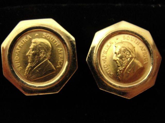 Signed Estate 1 10 Oz Krugerrand 22k Gold Coin Cufflinks In 18k Gold Setting Gold Cufflinks Cufflinks Gold Set