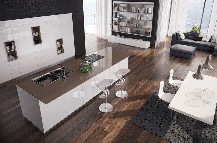 îlot de cuisine moderne avec tabourets de bar design, sol en ...