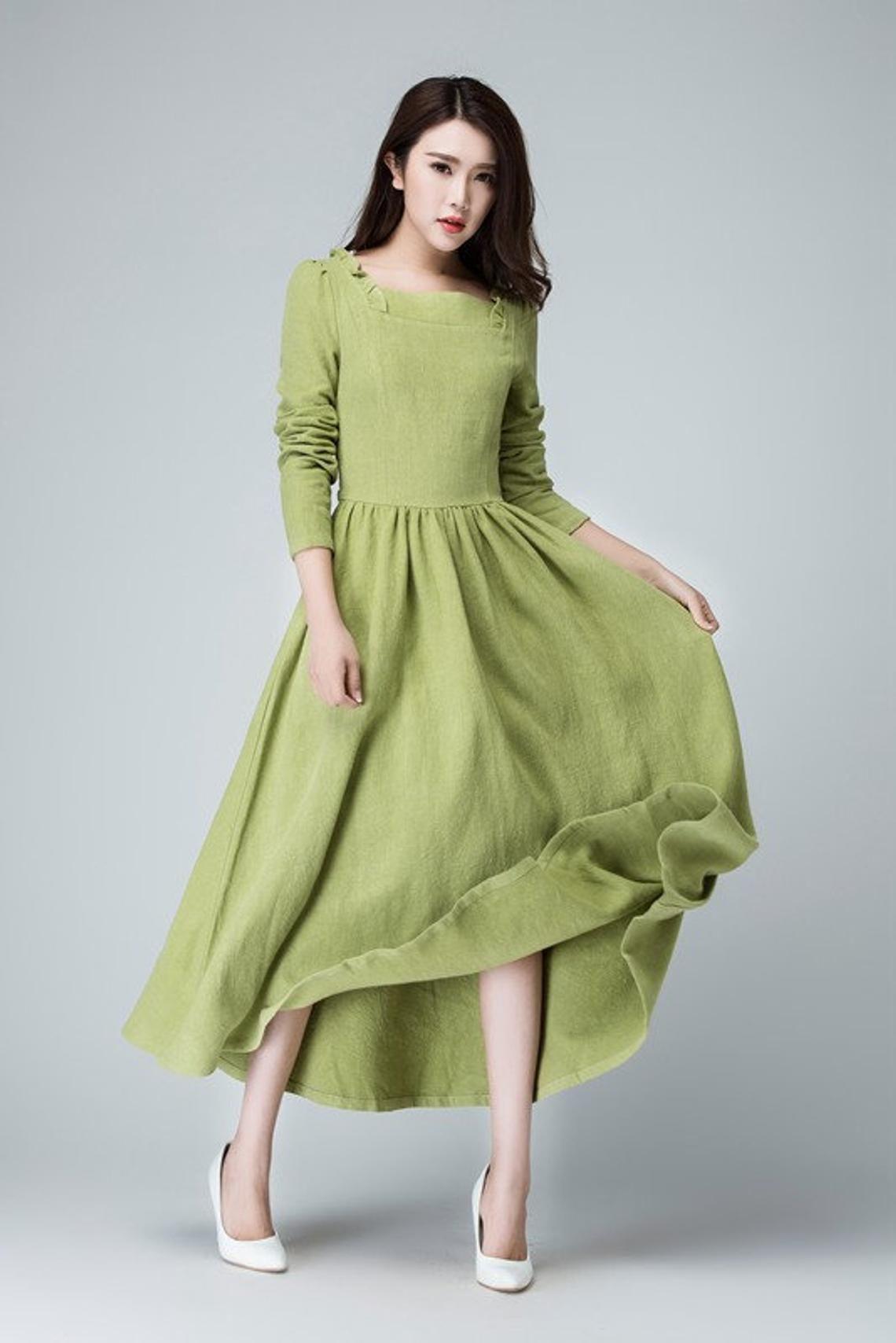 Sage green dress, linen maxi dress, long dress, ruffle dress, party dress, prom dress, spring dress, pleated dress, handmade dress 1475 #sagegreendress